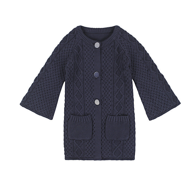 Girls Chunky Cable Knit Cardigan in Charcoal from Minouche