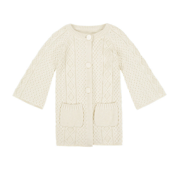 Girls Chunky Cable Knit Cardigan in White from Minouche