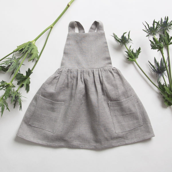 Linen 'Conkers' Pinafore Dress ( Grey & Red)