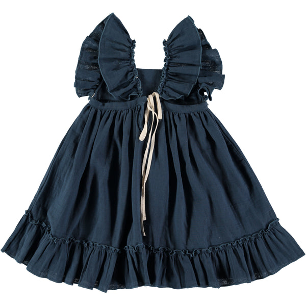 Organic cotton Pinafore Dress in antra blue