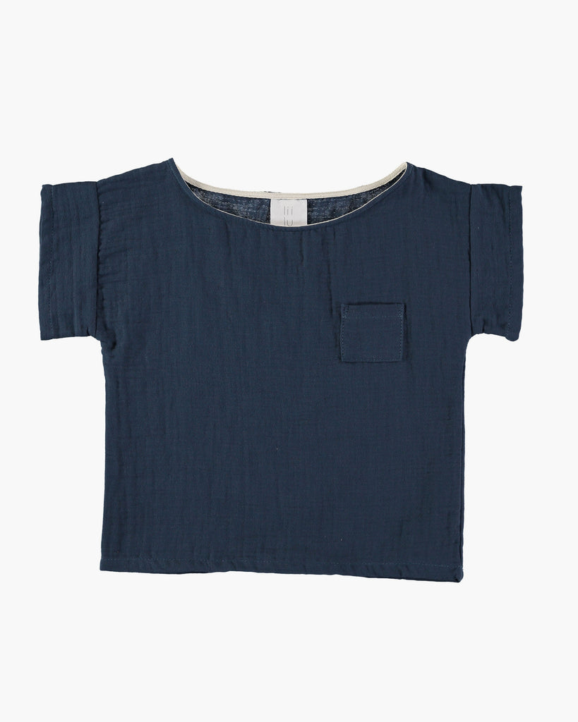 Organic cotton pocket shirt in antra blue