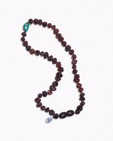 Peace babe necklace dark cherry amber and turquoise