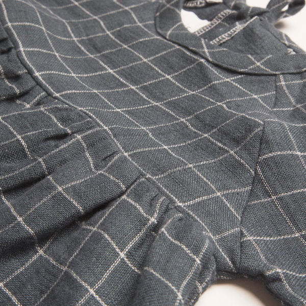 Hopscotch Dress- Checked Linen