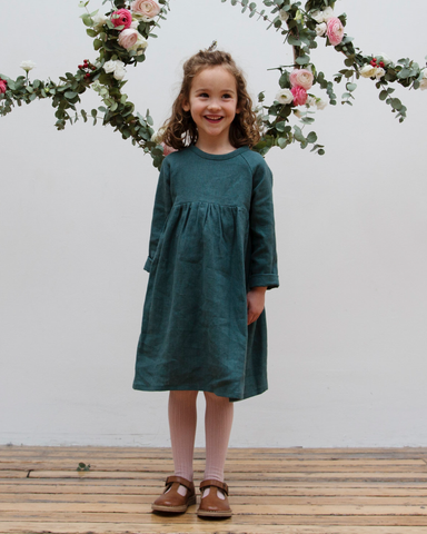 Hopscotch Dress- Deep forest green