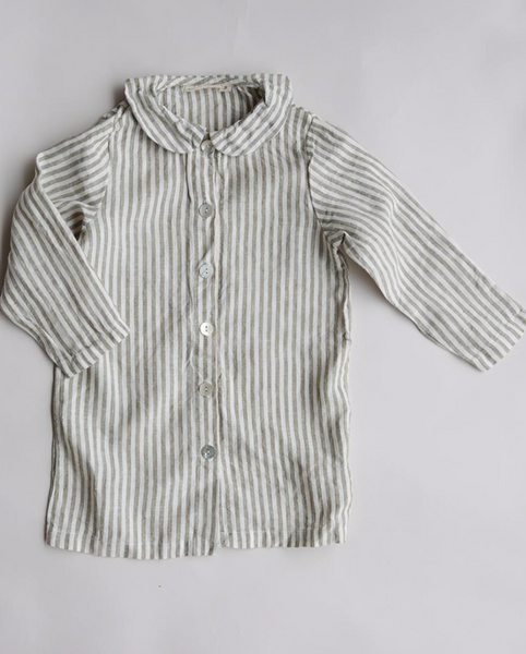 french linen nightie olive stripe