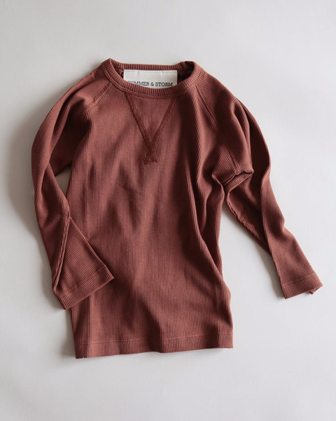 Casual Organic Long Sleeve Tee- Rust