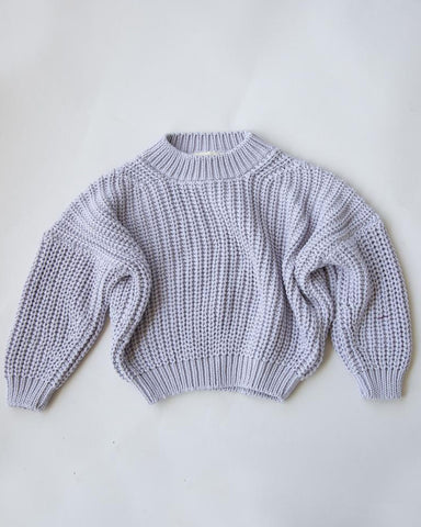 Chunky Cotton Pullover- Lavender