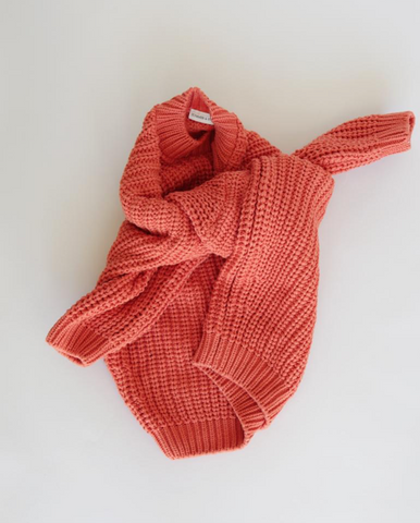 Chunky Cotton Knit- Coral