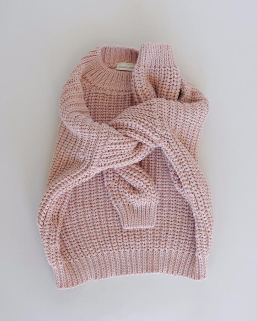 Chunky Cotton Pullover- Rose