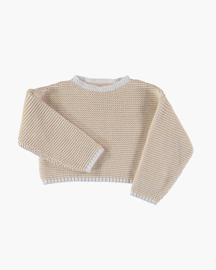 Organic Cotton Knit Jumper in Off-White and Vanilla