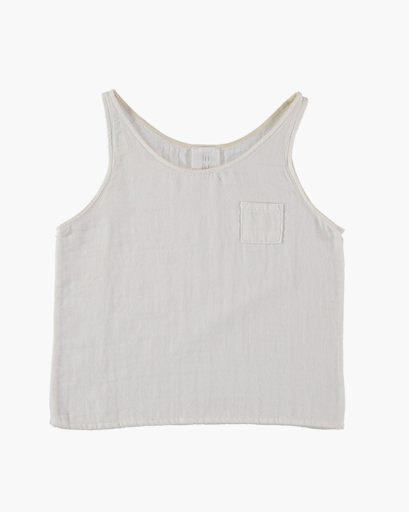 Organic cotton sleeveless tank top in off white