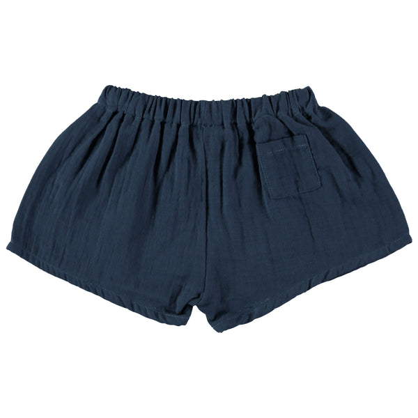 Organic cotton loose fit 'tudor' shorts in Antra blue