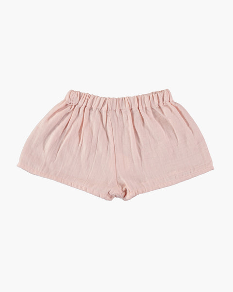 Organic cotton loose fit 'tudor' shorts in pale pink