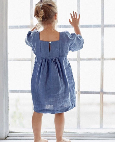 Linen Matylda dress with box sleeves in Ocean Blue