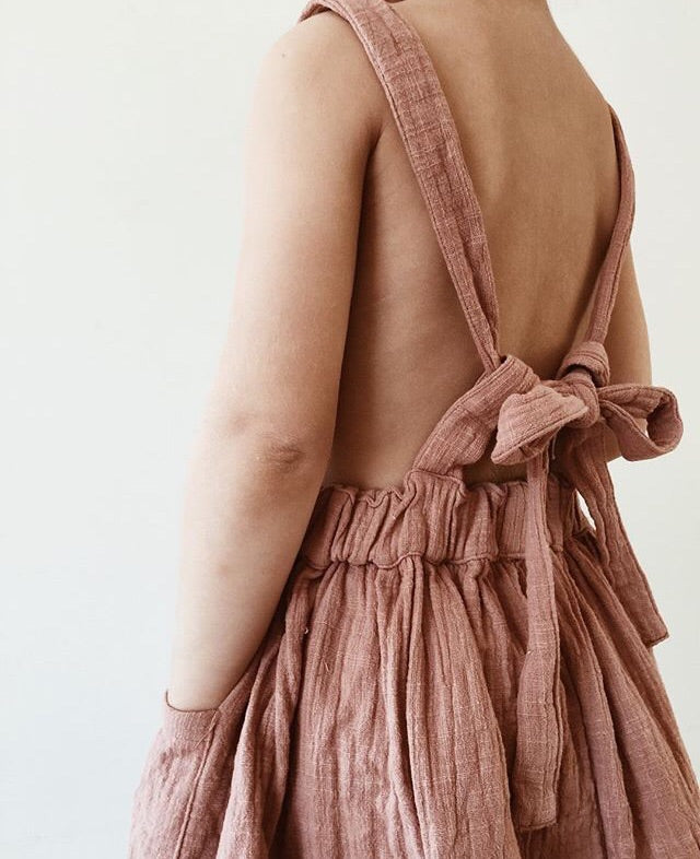 Florence Pinafore dress in Dusty Pink