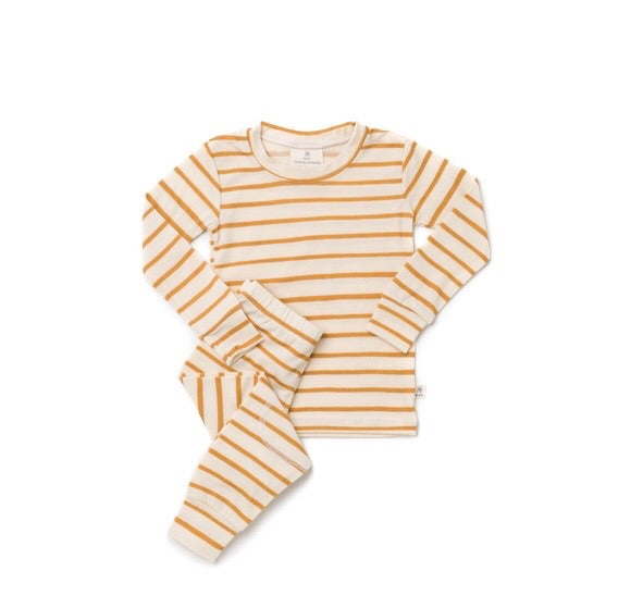 Chasing Windmills Merino Wool Pyjama Set - Golden Stripes