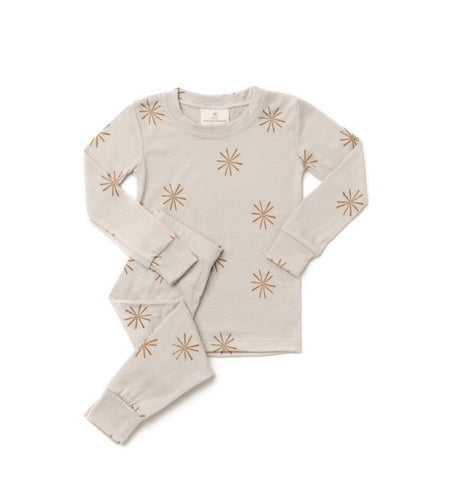 Chasing Windmills Merino Wool Pyjama Set - Bronze Windmills