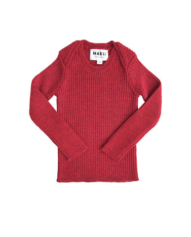 Extra Fine Merino Wool Ribbed Top- Madder