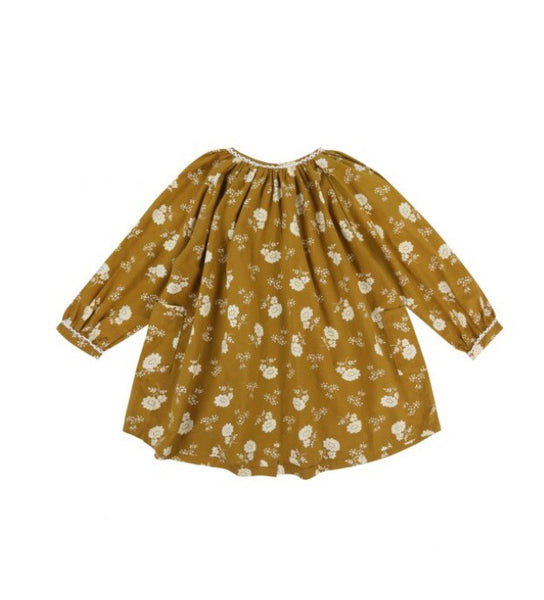 Floral cotton smock dress -mustard