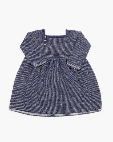 Merino Wool Twisted Dress in Navy