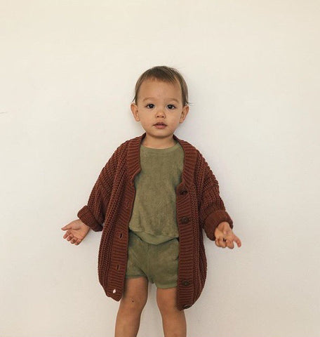 Summer and Storm chunky knit cardigan rust