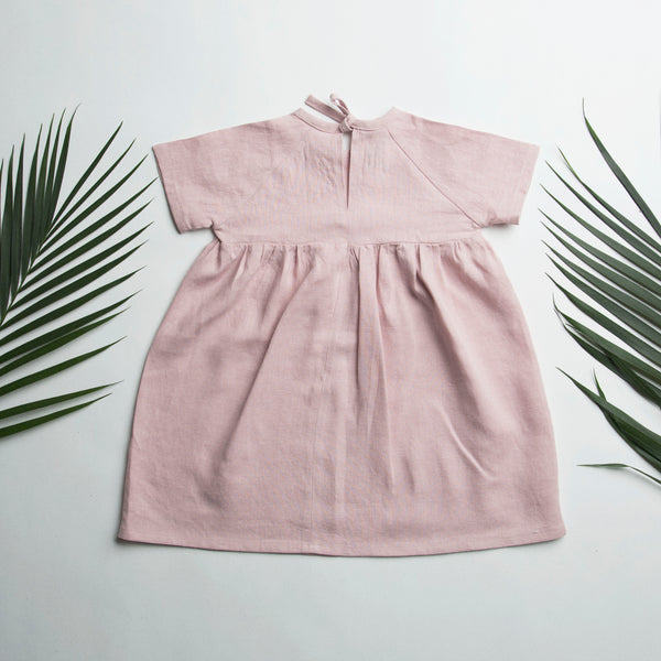 Hopscotch Dress in pale pink linen