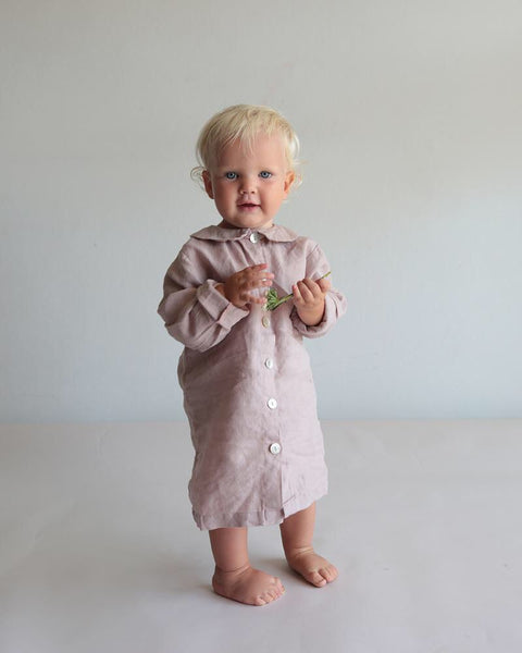 French linen nightie in lilac