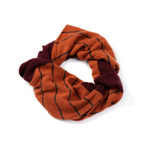 Patterned snood burgundy/caramel