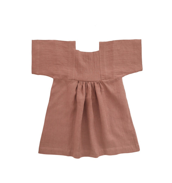 Linen Matylda dress with box sleeves in Pink
