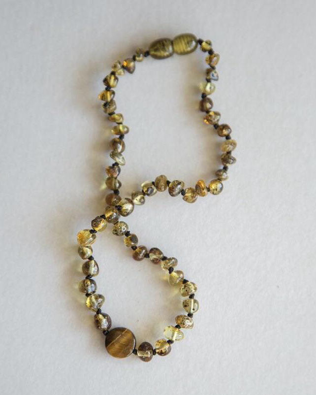 Summer and Storm Tigers Eye Amber Necklace