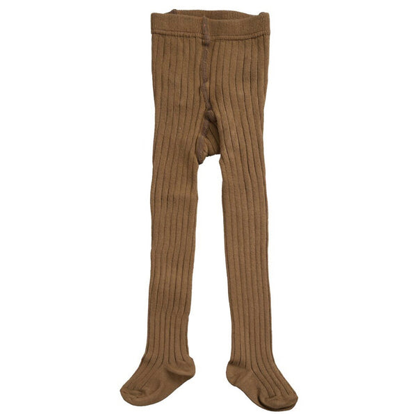 Cotton Ribbed Tights - Yellowish Brown