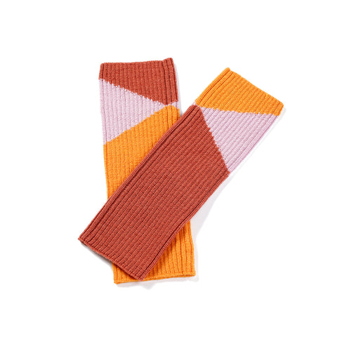 Geometric leg/wrist warmers dusty pink/ochre