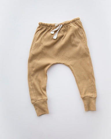 Causal organic pants in mustard