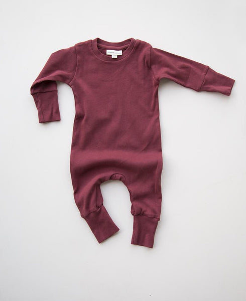 Mini ribbed cotton romper in wine