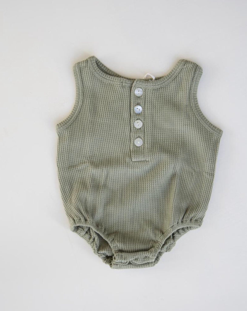 Waffle Kai Onsie in Moss Green