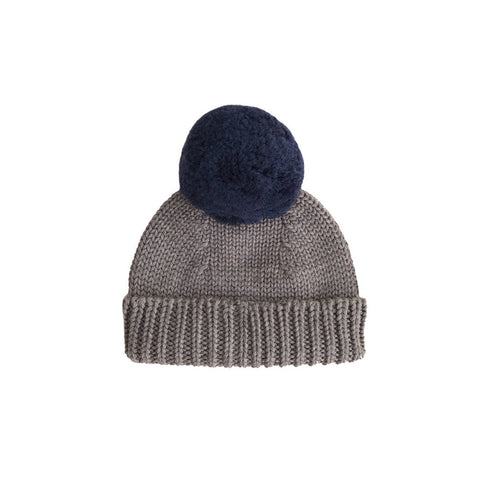 Merino Wool Bobble Hat - Walnut and Navy