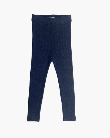 Extra Fine Merino Wool Ribbed Leggings-Soft Navy