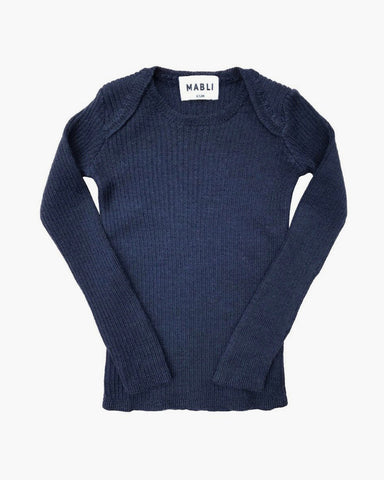 Extra Fine Merino Wool Ribbed Top- Soft Navy