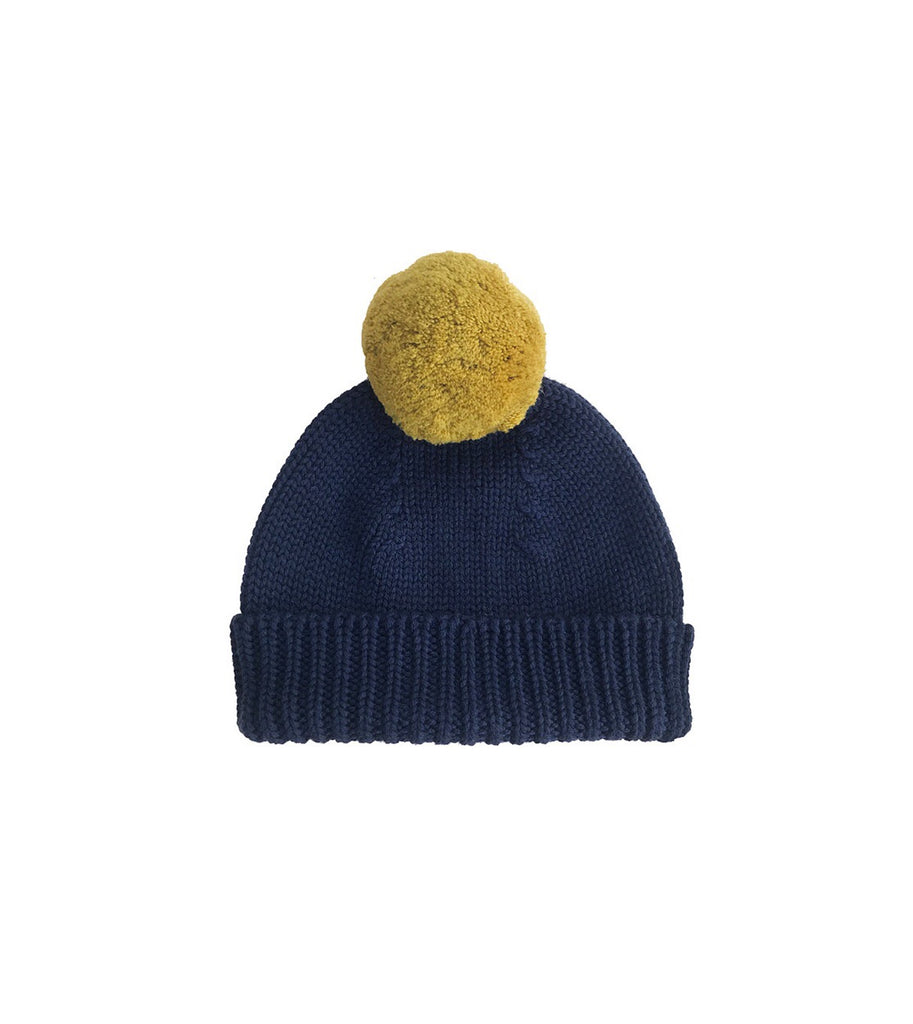 Merino Wool Bobble Hat - Navy/Ochre
