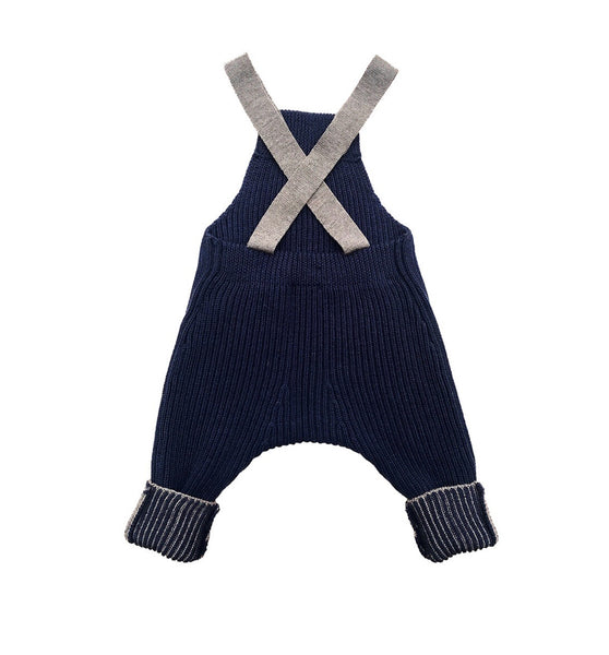 Rhesi Dungarees in Pure Merino Wool - Navy and Walnut