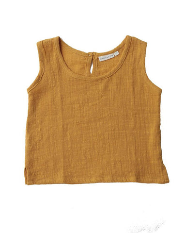 Woven cotton summer singlet in sunshine