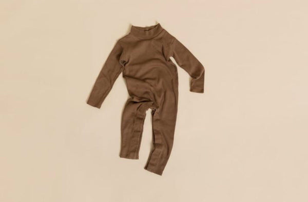 Cotton Long Johns/Romper in Mud