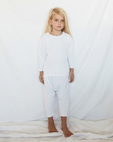 Cotton 'Seth' Drop Crutch Pants in White