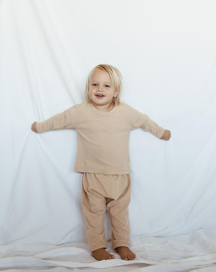 Cotton Basic Long-sleeved T Shirt in Sand
