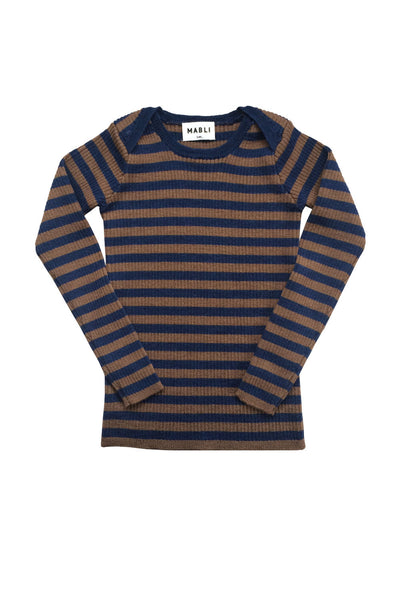 Merino Wool Kids Ribbed Long Sleeve Stripy Top