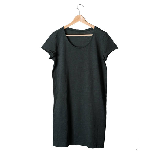 Organic Cotton Mama T Shirt Dress in Charcoal