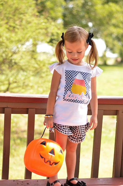 Candy Corn with Black Gingham Background - Printed Tee