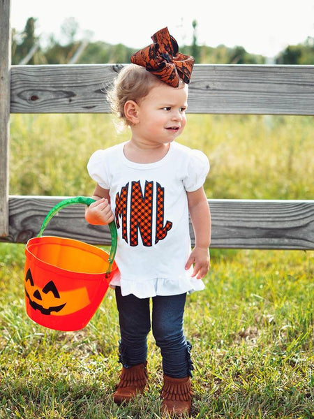 Scalloped Circle Monogram - Halloween Tee
