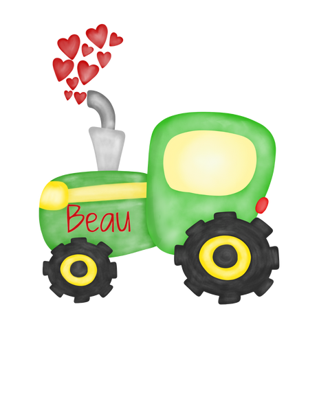 Valentine Tractor with Hearts - Graphic Tee