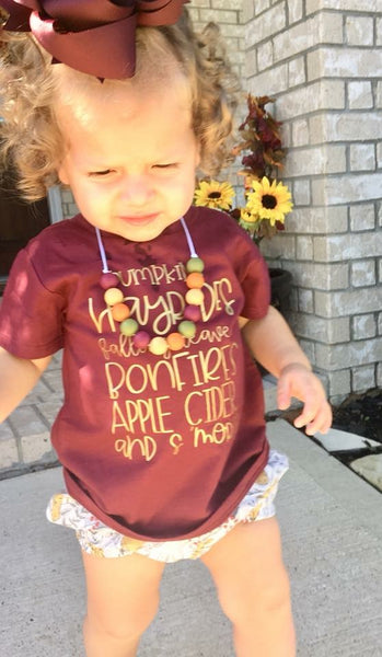 Pumpkins, Hayrides, Falling leaves, Apple cider, & S'mores - Kid's Tee